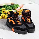 Яркие черные неоновые оранжевые зимние женские кроссовки сникерсы, фото 8