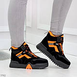 Яркие черные неоновые оранжевые зимние женские кроссовки сникерсы, фото 9