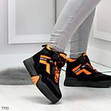 Яркие черные неоновые оранжевые зимние женские кроссовки сникерсы, фото 10