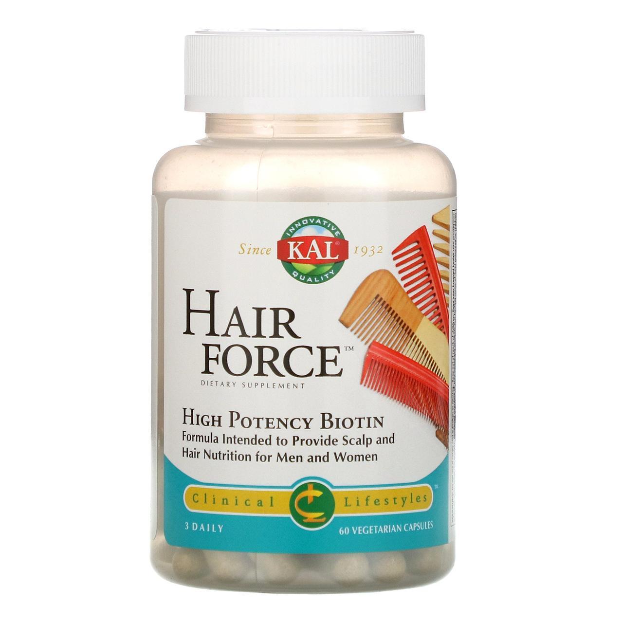 KAL, Сила волос, высокоэффективный биотин, 60 вегетарианских капсул