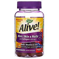 Nature's Way, Живой! Для волос, кожи и ногтей с коллагеном, Со вкусом клубники, 60 жевательных таблеток