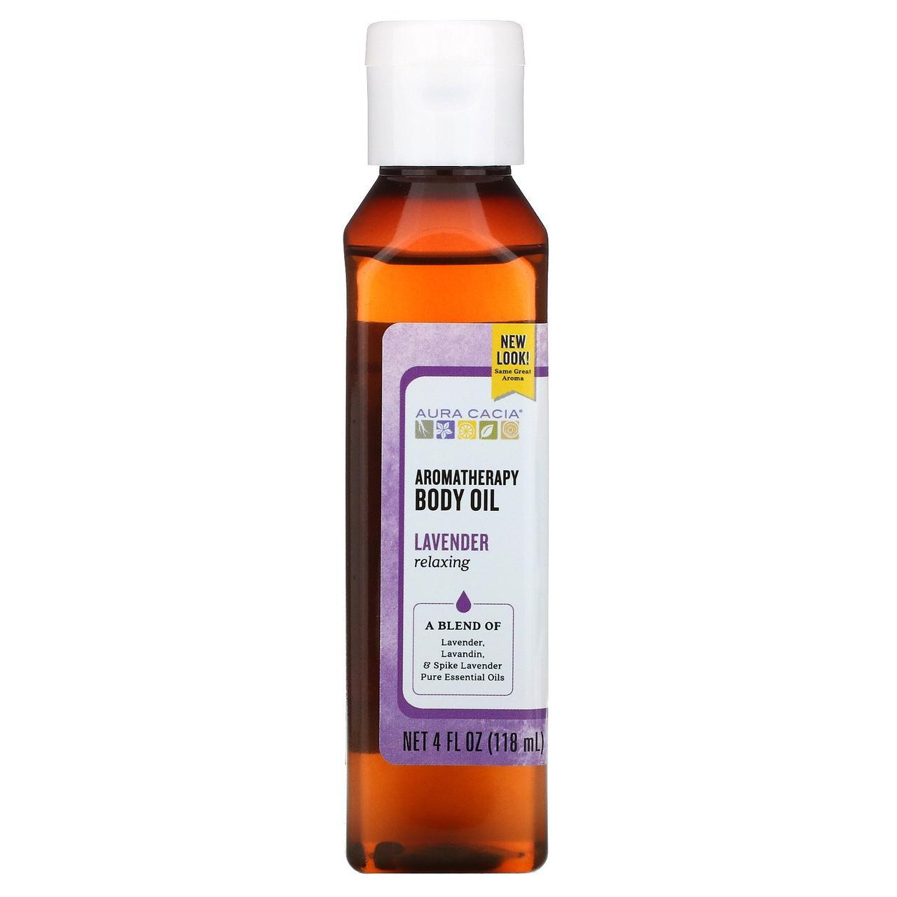 Масло для тела с эффектом ароматерапии Aura Cacia, успокаивающая лаванда, 118 мл