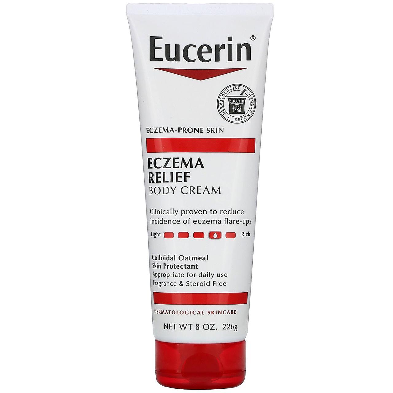 Eucerin, Крем для тела Eczema Relief, подходит для кожи, пораженной экземой, без отдушек, 8,0 унц. (226 г)