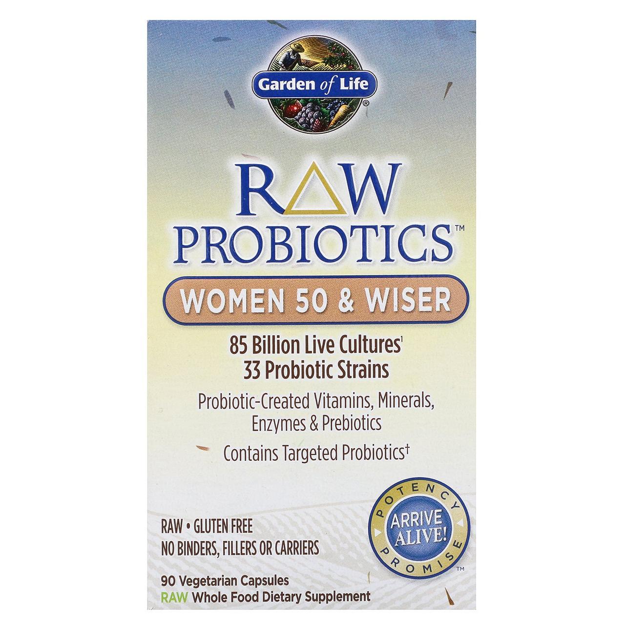 Garden of Life, RAW Пробиотики, Женщины 50 и мудрее 90 овощных капсул