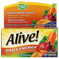 Мультивитамины-мультиминералы Nature's Way, Alive!, Энергия на каждый день, 60 таблеток, фото 1