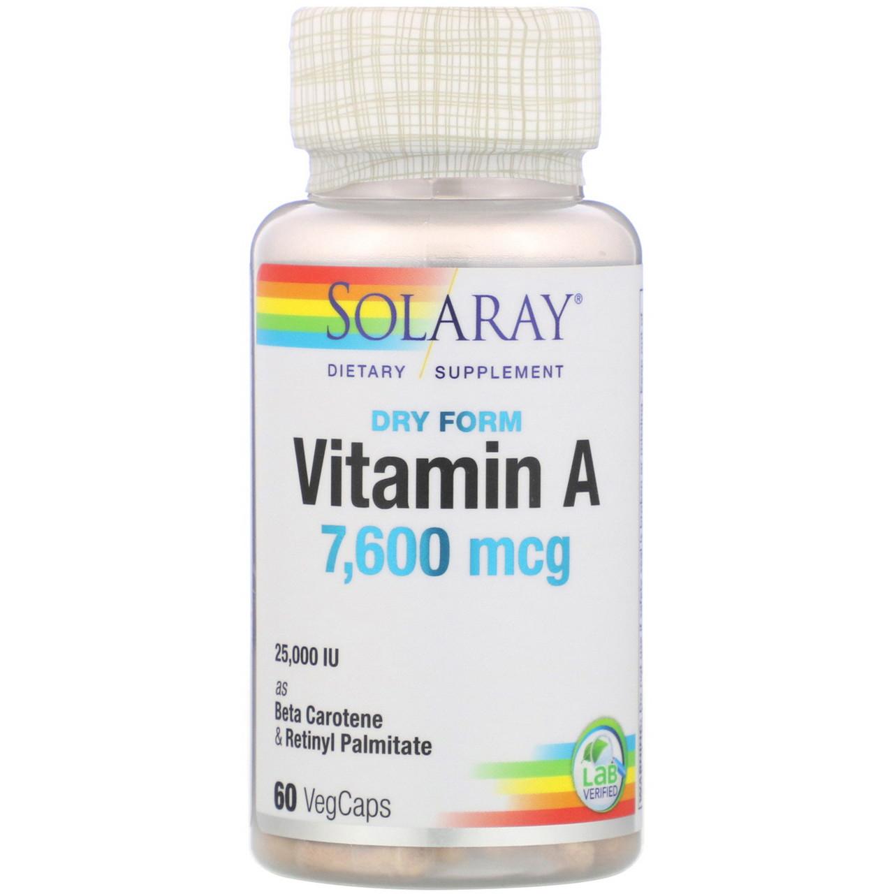 Витамин A Solaray сухой формы, 25000 МЕ, 60 капсул