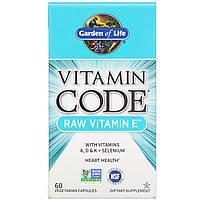 Натуральный витамин E Garden of Life, Vitamin Code, 60 овощных капсул, фото 1