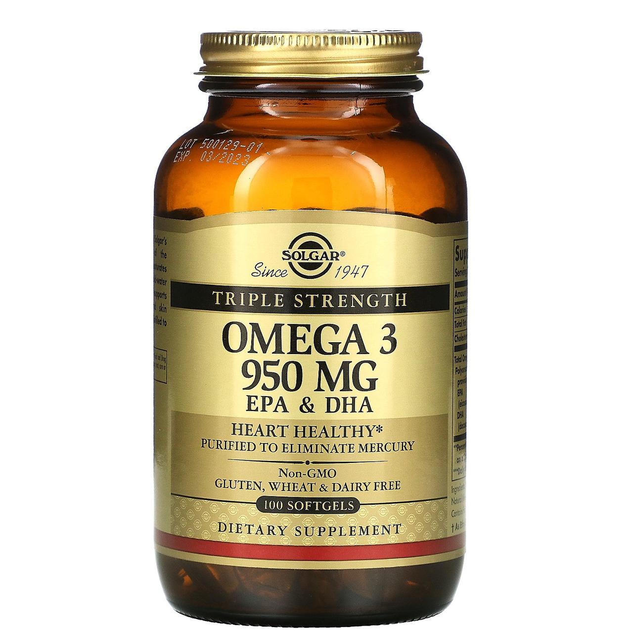 Solgar, Омега-3 ЭПК и докозагексановая кислота, Тройная сила, 950 мг, 100 капсул