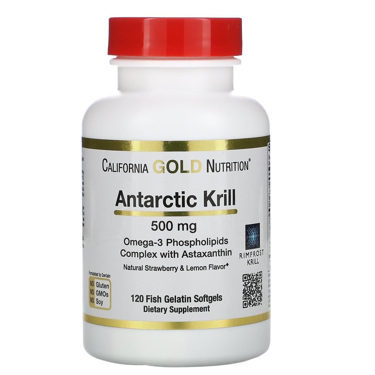 Жир арктического криля от California Gold Nutrition, вкус клубники-лимона, 500 мг, 120 желатиновых капсул