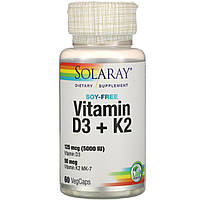 Витамин D3 + K2 Solaray, без сои, 60 вегетарианских капсул
