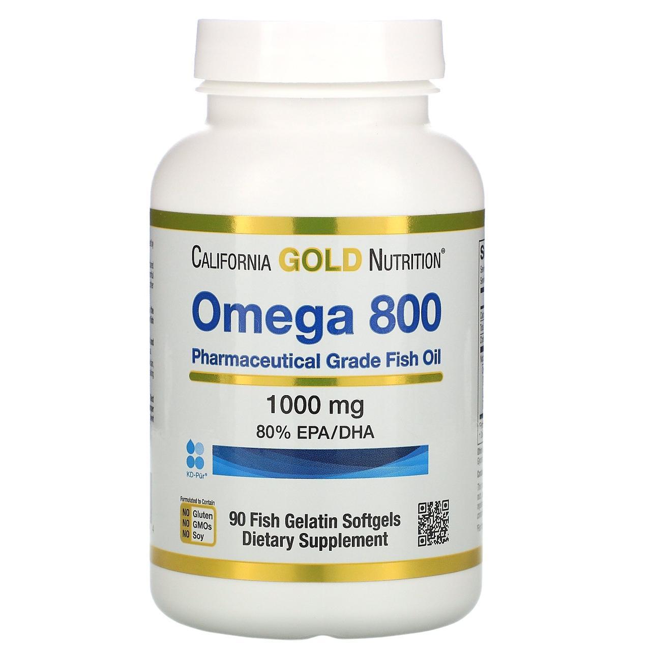 """Рыбий жир фармацевтич. класса без холестерина """"Омега 800"""" от California Gold Nutrition, 80% EPA/DHA, 90 капсул"""