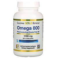 """Рыбий жир фармацевтич. класса без холестерина """"Омега 800"""" от California Gold Nutrition, 80% EPA/DHA, 90 капсул, фото 1"""