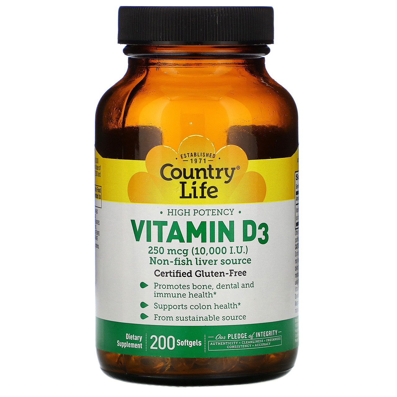 Витамин D3 высокоэффективный от Country Life, 10000 МЕ, 200 мягких капсул