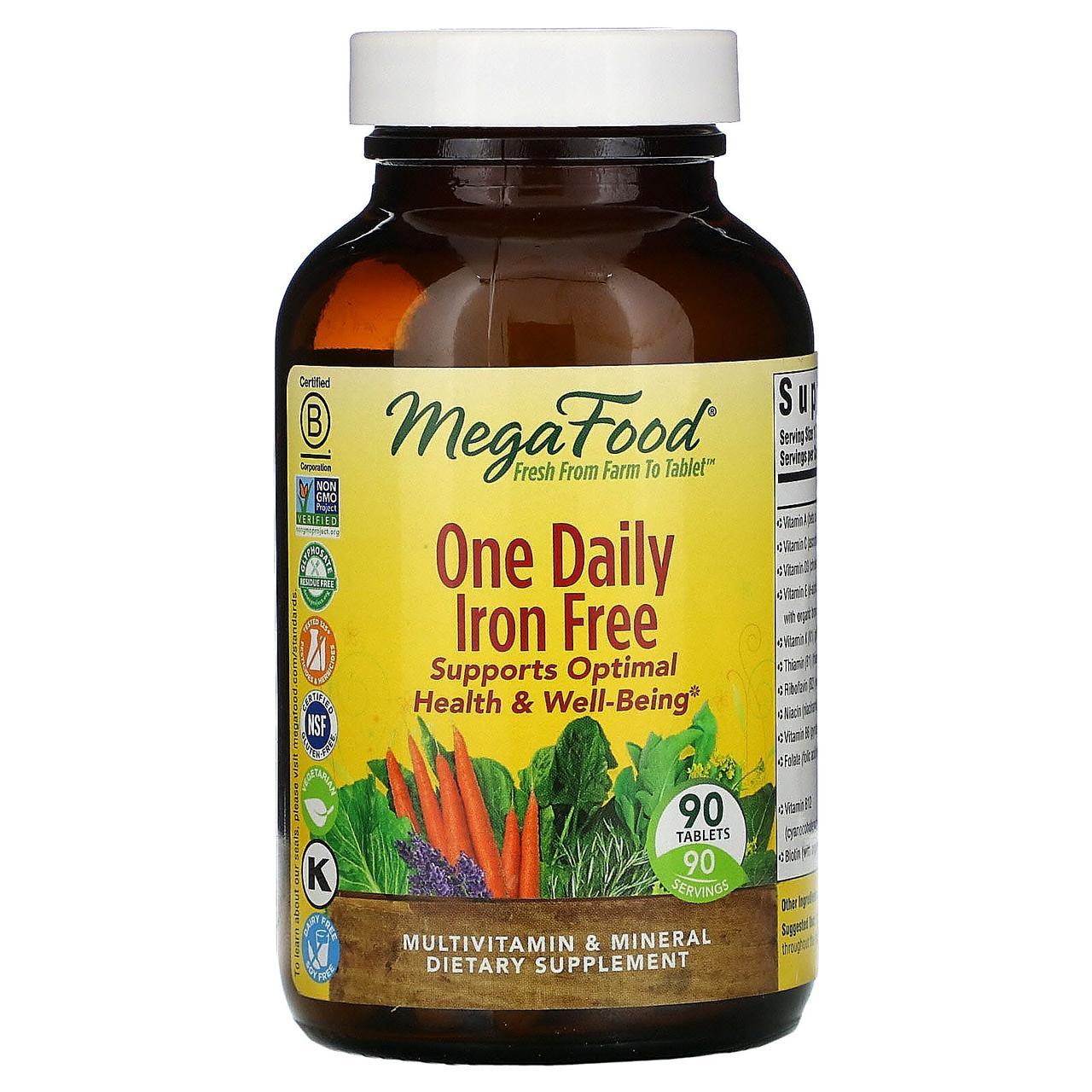 Ежедневные мультивитамины и минералы без железа от MegaFood, 90 таблеток