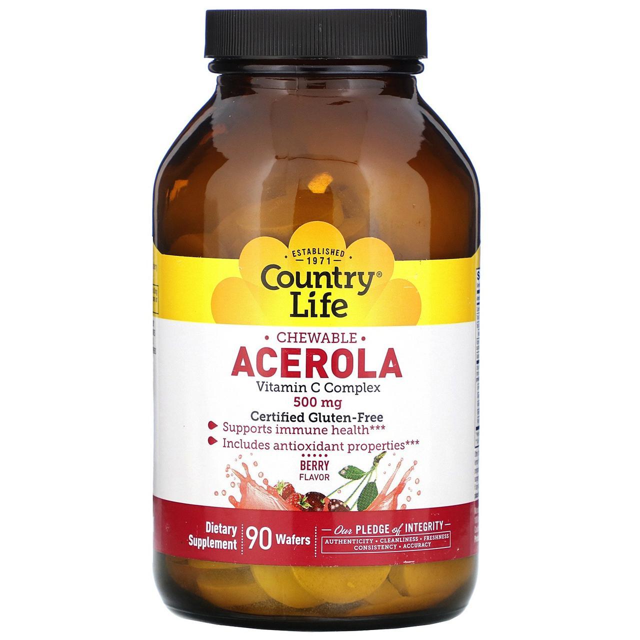 Жевательный витамин C Ацерола от Country Life, вкус ягоды, 500 мг, 90 пастилок