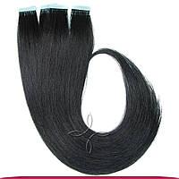 Натуральные славянские  волосы на лентах 45-50 см 100 грамм, Черный №01