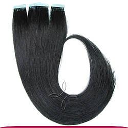Натуральные Славянские Волосы на Лентах 40 см 100 грамм, Черный №01