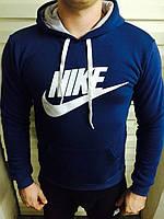 Красивая молодежная спортивная толстовка с карманами  в синем цвете