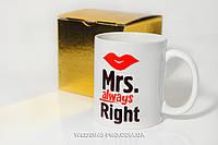 """Чашка миссис в золотой подарочной упаковке. Серия  """"Mr. & Mrs."""""""