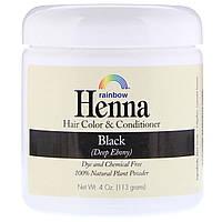 Хна, 100% растительная краска для волос и кондиционер Rainbow Research, черный (глубокий черный), 113 г