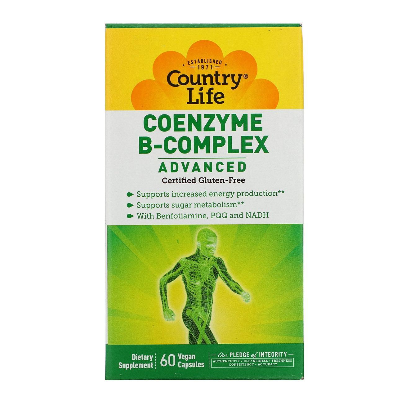Коэнзим комплекс витаминов группы B Country Life, улучшенная формула, 60 растительных капсул