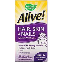 Мультивитамины Nature's Way для волос, кожи и ногтей, со вкусом клубники, 60 мягких таблеток, фото 1