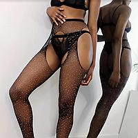 Колготки женские эротические сетка со стразами.Эротическое белье. Эротическик чулки.