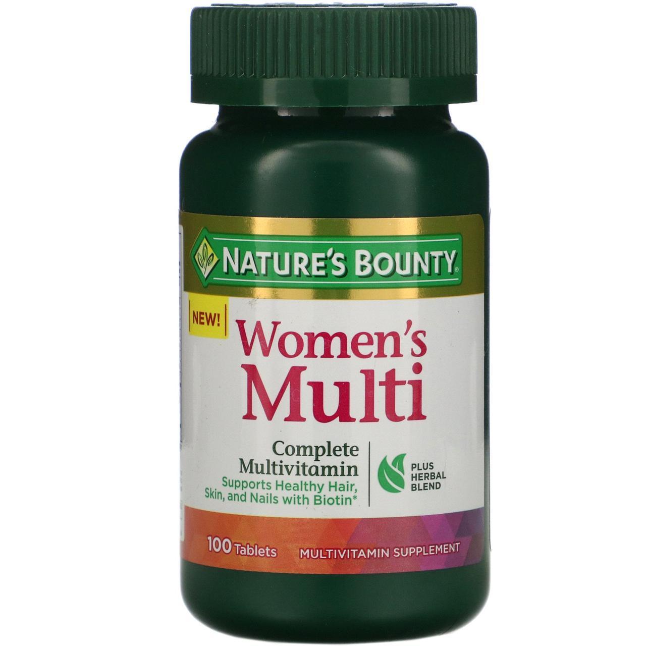 Мультивитамин для женщин Nature's Bounty, полный комплекс мультивитаминов, 100 таблеток