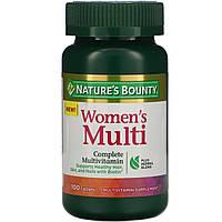 Мультивитамин для женщин Nature's Bounty, полный комплекс мультивитаминов, 100 таблеток, фото 1