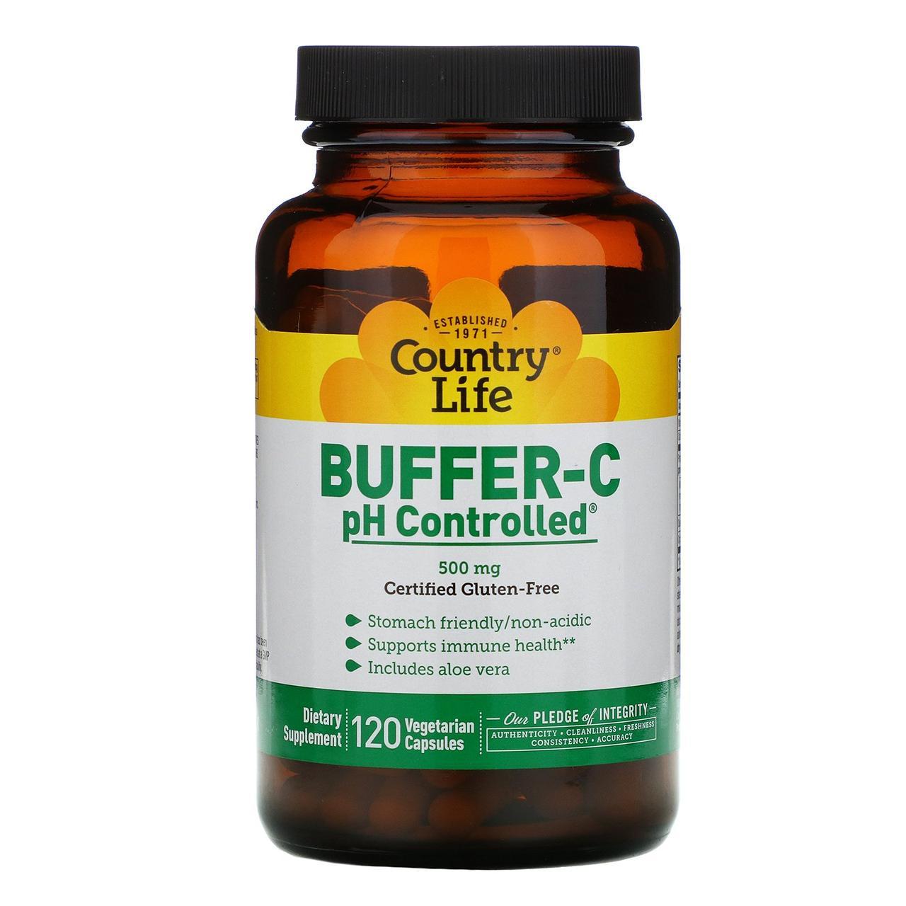 Буферизованный витамин C с контролем pH от Country Life, 120 капсул на растительной основе