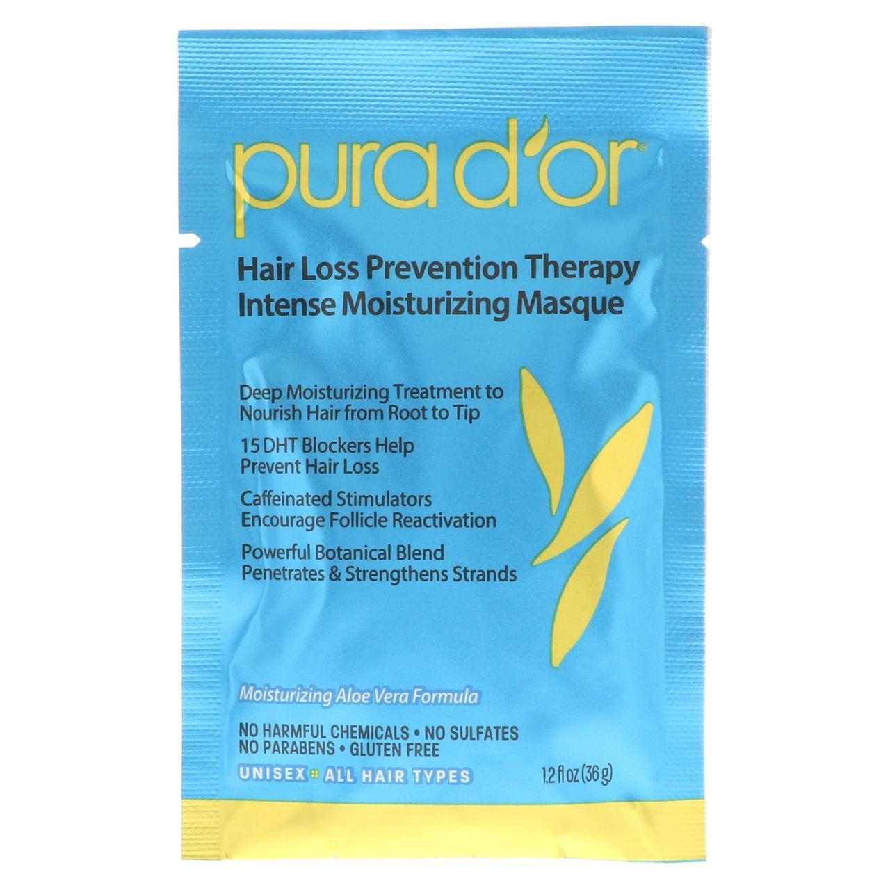 Pura D'or, Средство для предотвращения выпадени волос, интенсивная увлажняющая маска, 8 пакетов по 36 мл