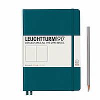 Блокнот Leuchtturm1917 Середній (14,5х21 см) Тихоокеанский зелений Чисті аркуші (359698), фото 1