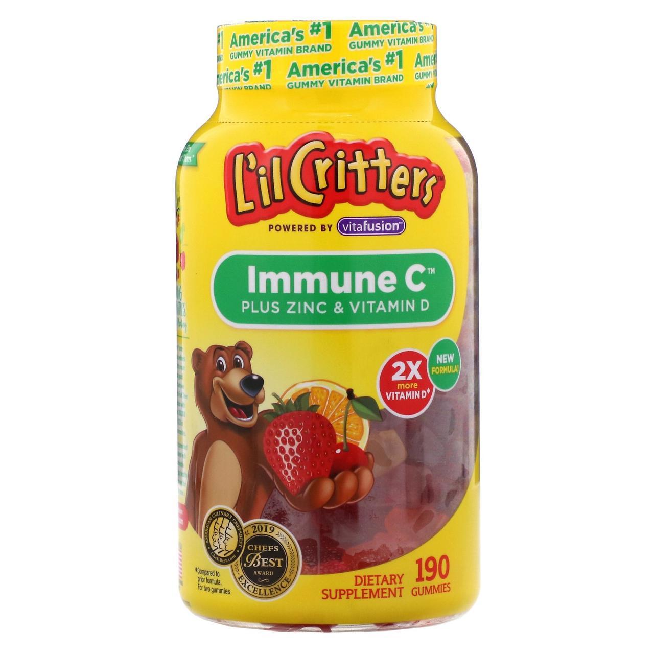 Детские жевательные витамины - цинк, витамин С и витамин D3 L'il Critters, Immune C, 190 жевательных таблеток