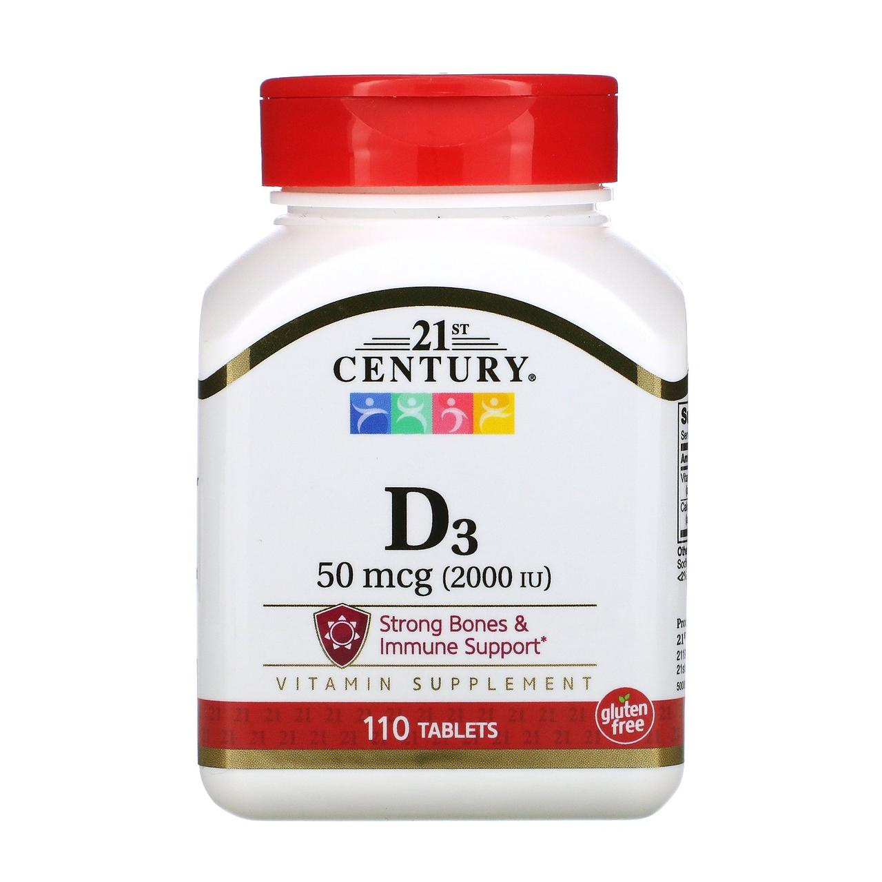 Витамин D3 21st Century, 2000 МЕ, 110 таблеток