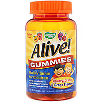 Nature's Way, Alive! Жевательные конфеты, мультивитамины для детей, вишня, виноград и апельсин, 90 жевательных конфет