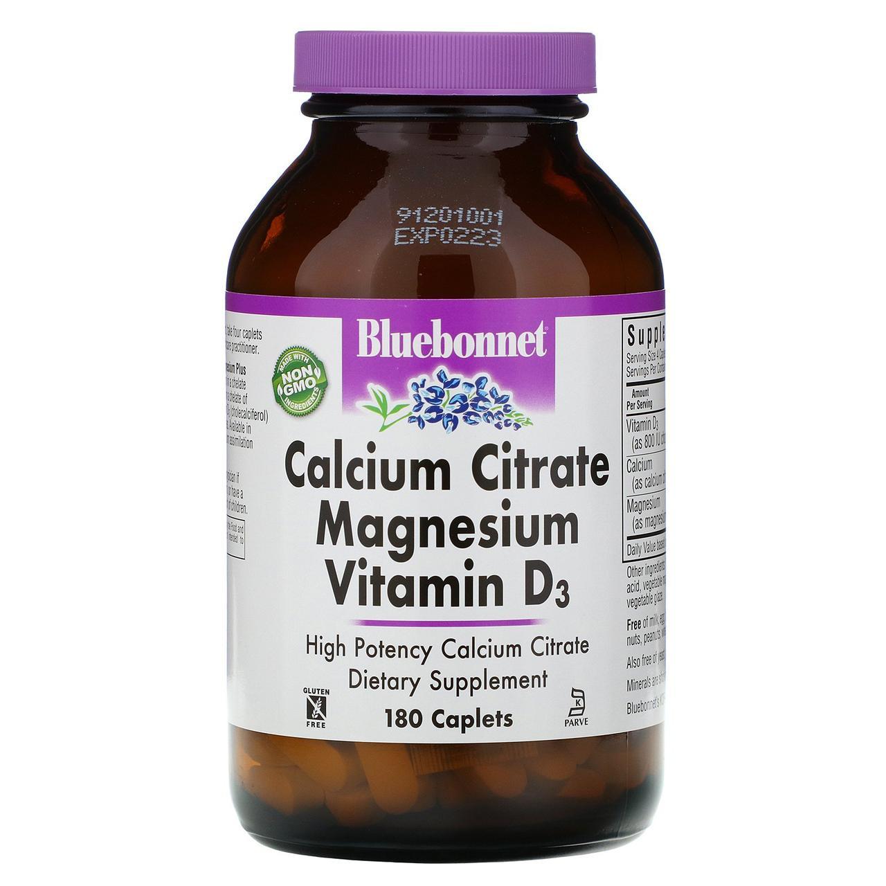 Цитрат кальция с магнием и витамином D3 Bluebonnet Nutrition, 180 капсул