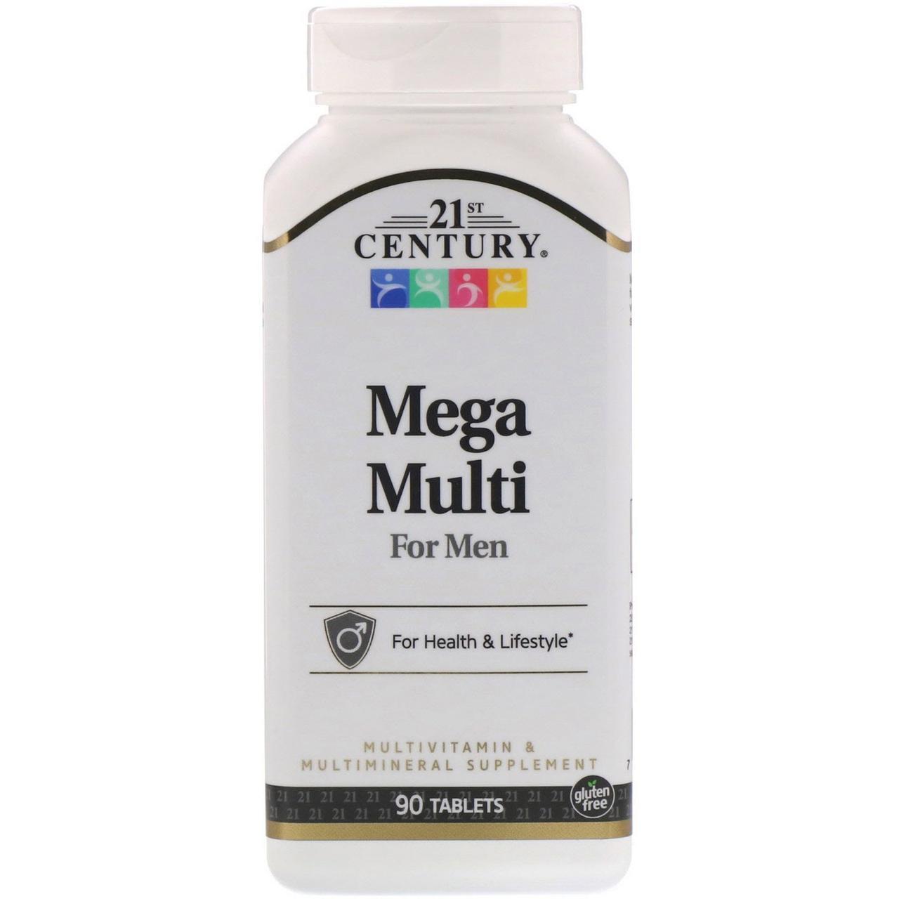 Мультивитамины и мультиминералы 21st Century, Mega Multi, для мужчин, 90 таблеток