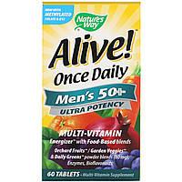Nature's Way, Alive! Once Daily, мультивитамин для мужчин старше 50 лет, 60 таблеток, фото 1