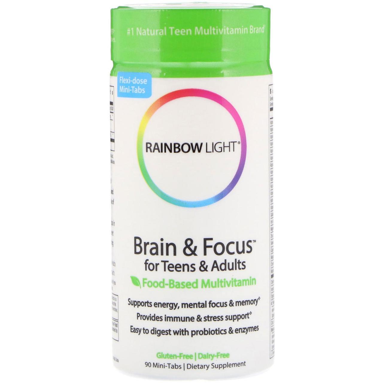 Rainbow Light, Brain & Focus для детей и взрослых, пищевой мультивитаминный комплекс, 90 мини таблеток