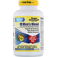 Super Nutrition, Men's Blend, богатые антиоксидантами мультивитамины для мужчин, без железа, 180 таблеток