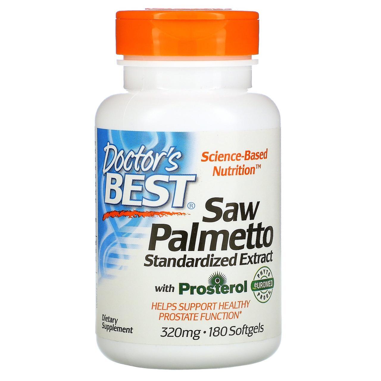 Doctor's Best, Euromed, пальма сереноа, стандартизованный экстракт, 320 мг, 180 мягких таблеток