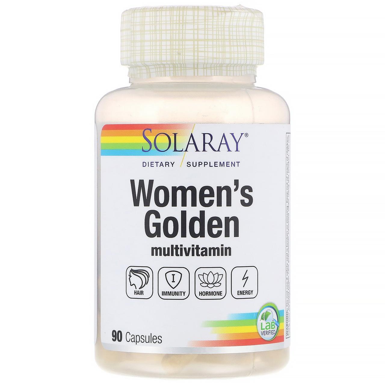Solaray, Золотые мультивитамины для женщин, 90 капсул