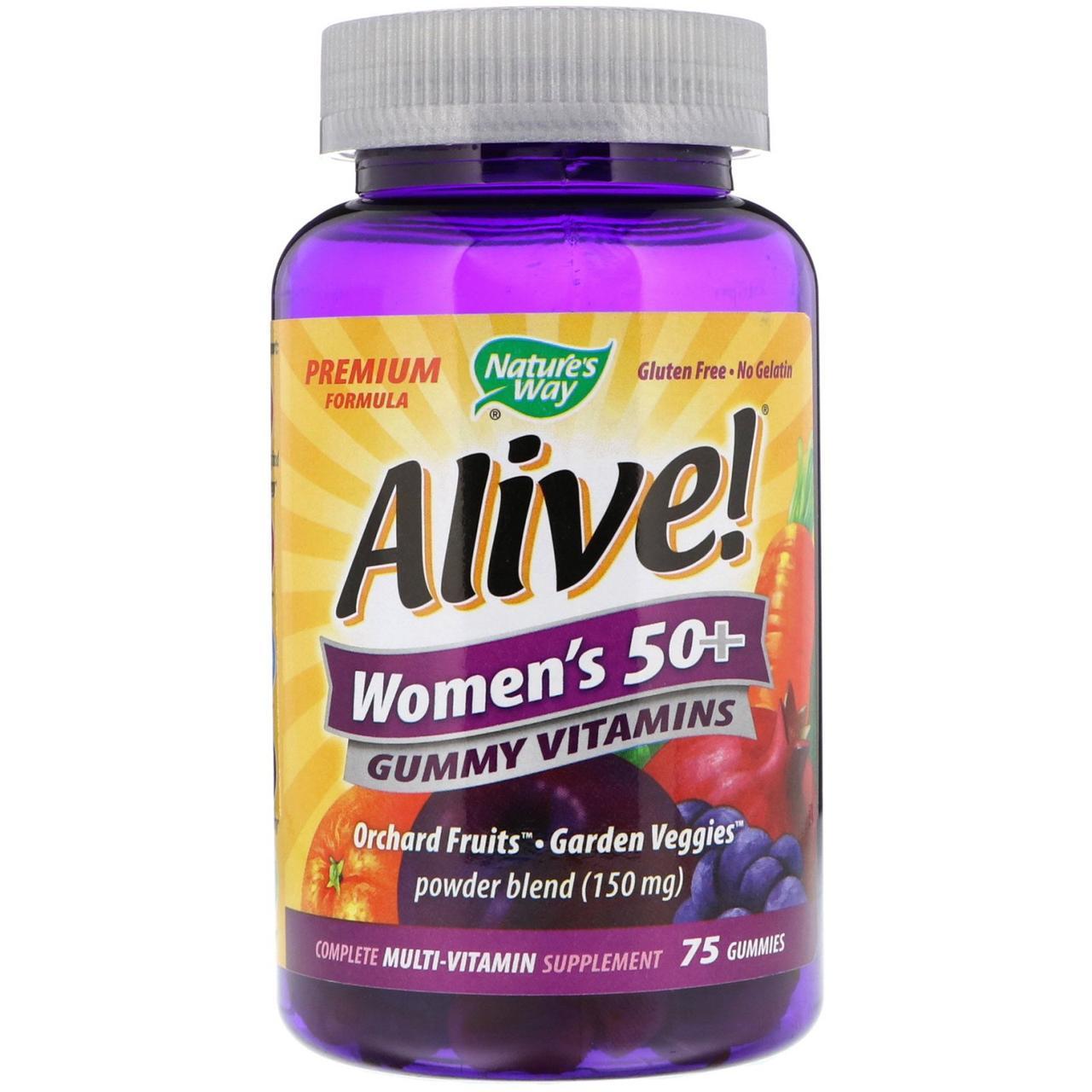 Nature's Way, Alive! Жевательные витамины для женщин 50+, 75 жевательных мармеладок