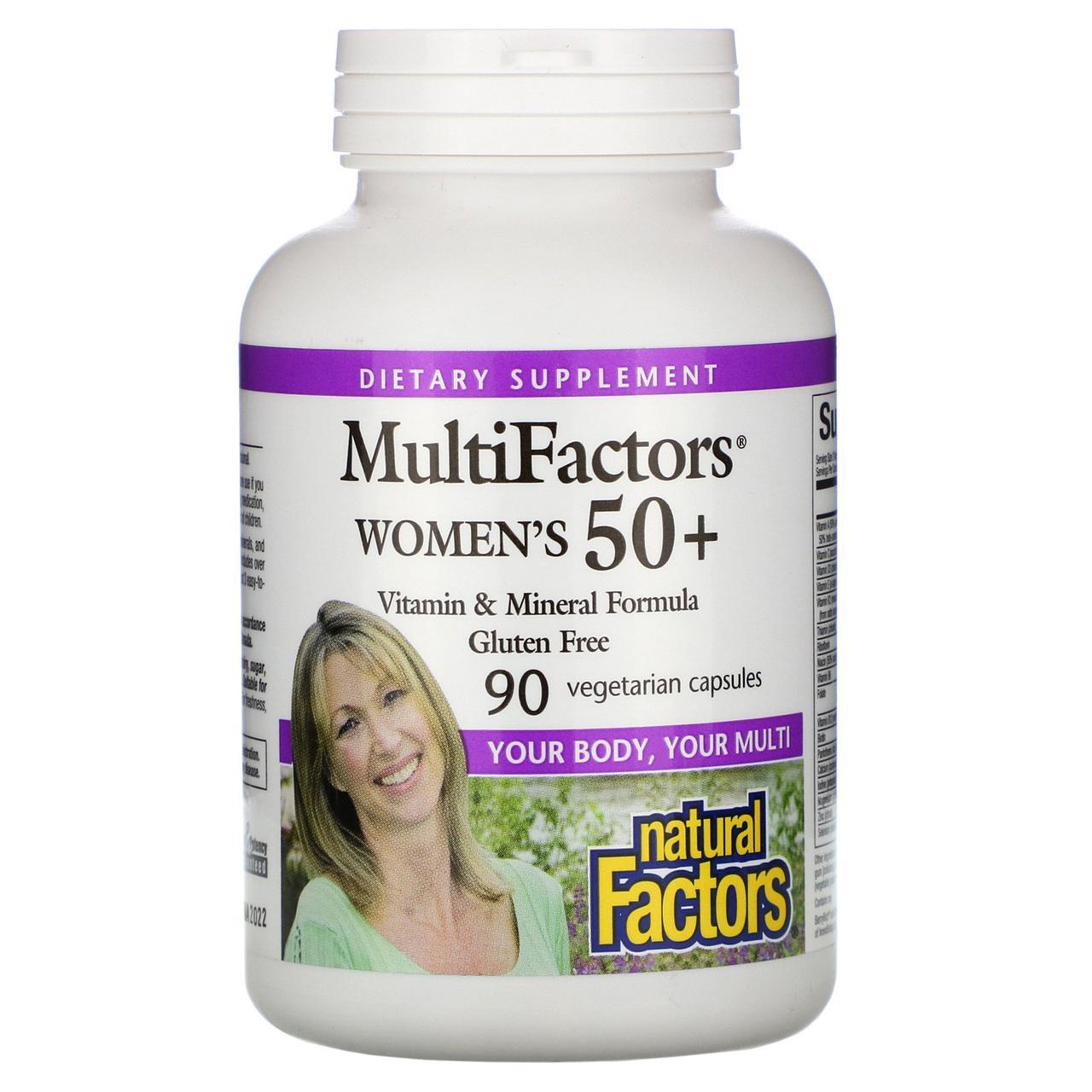 Natural Factors, MultiFactors, Женские капсулы 50 +, 90 растительных капсул