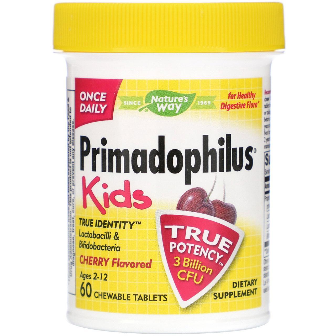 Жевательные таблетки Primadophilus для детей от Nature's Way со вкусом вишни, 60 штук