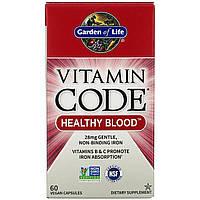 Здоровая кровь Garden of Life, Витаминный код, 60 растительных капсул, фото 1