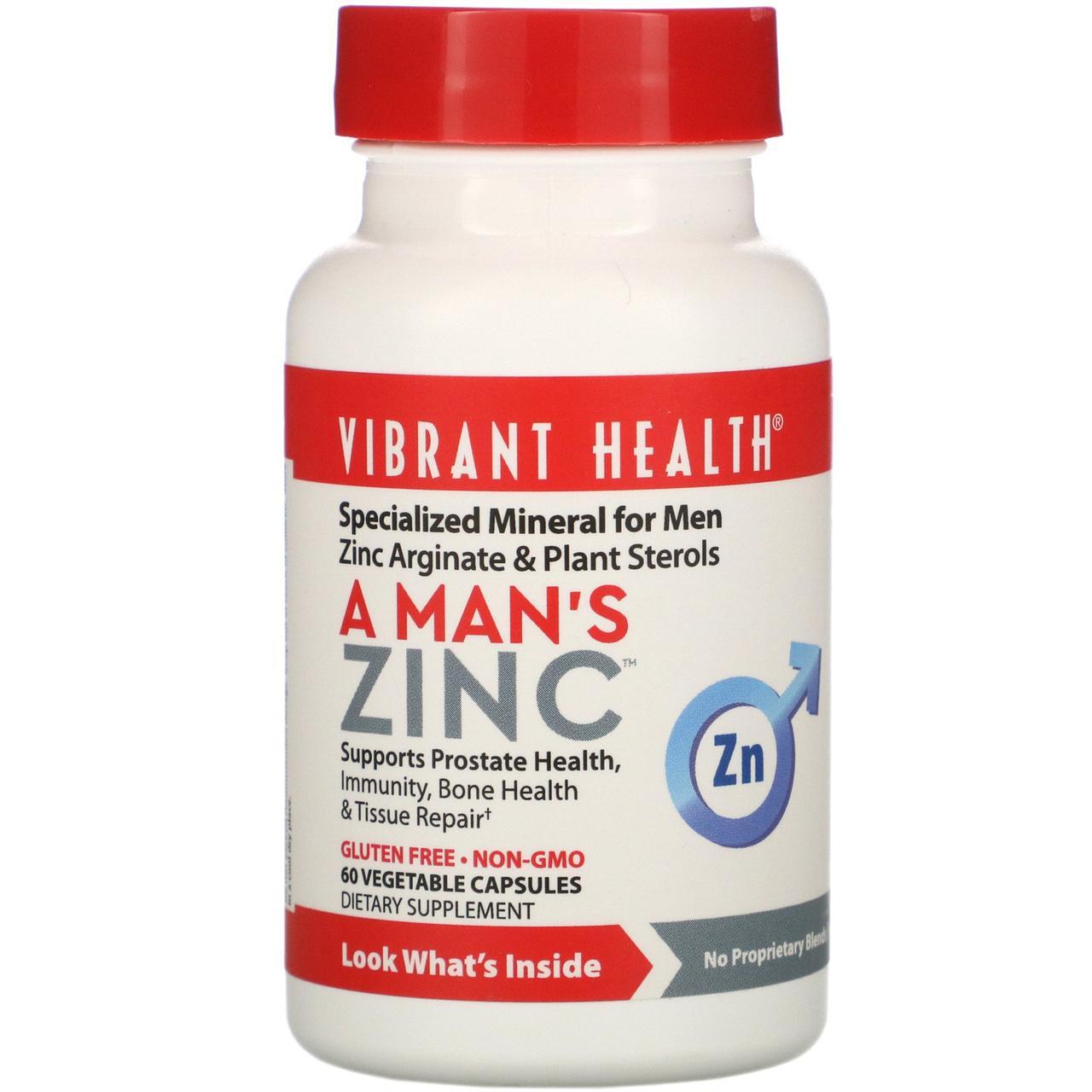 Цинк для мужчин Vibrant Health, 60 вегетарианских капсул