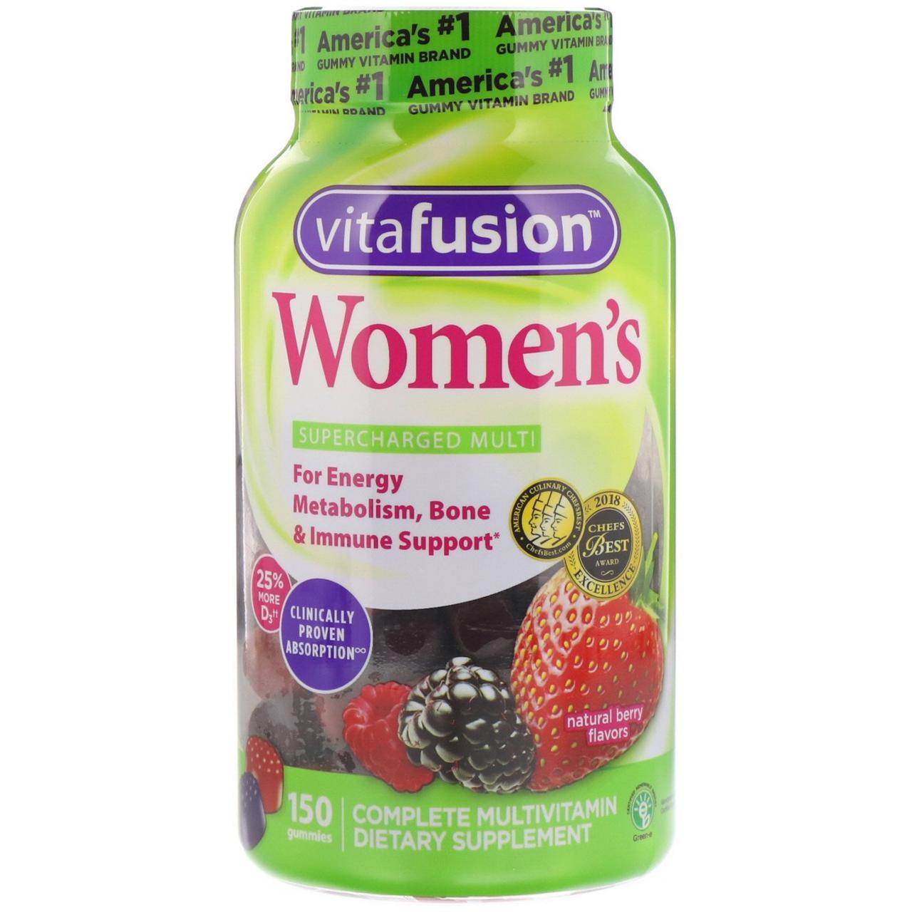 VitaFusion, Жевательные витамины для женщин, натуральные ягодные вкусы, 150 жевательных таблеток