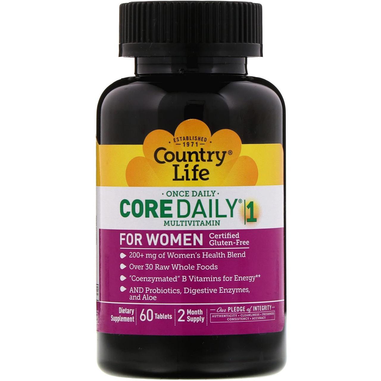 Country Life, Мультивитамины Core Daily-1, для женщин, 60 таблеток