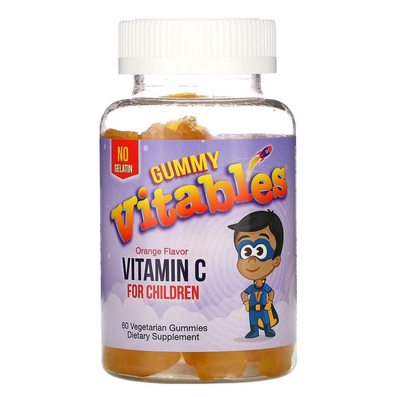 Жевательный витамин C для детей Vitables, без желатина, вкус апельсина, 60 жевательных мишек